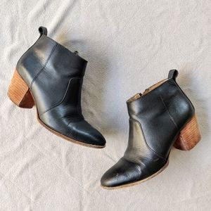 Madewell Stacked Heel Black Leather Ankle Booties